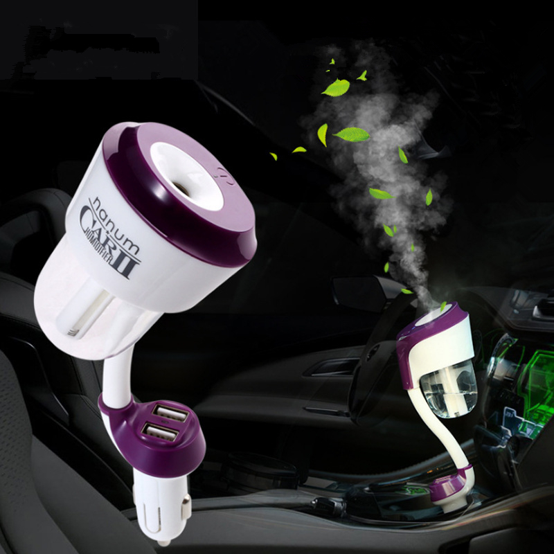 12V Portable Car Air Humidifier II With 2 USB Car Charger Ports Car Air Freshener Purifier Aroma Oil Diffuser Car Accessories