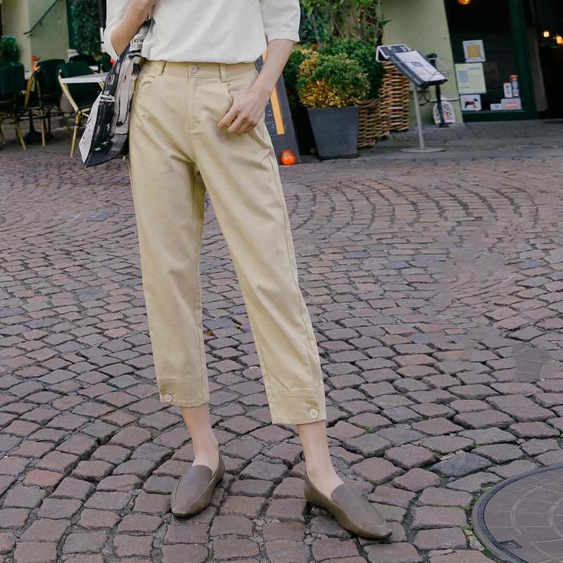 Image 4 - INMAN 2020 Spring New Arrival Literary Pure Color High Waist Button Leg Opening Nine cent Turnip Women PantPants & Capris   -