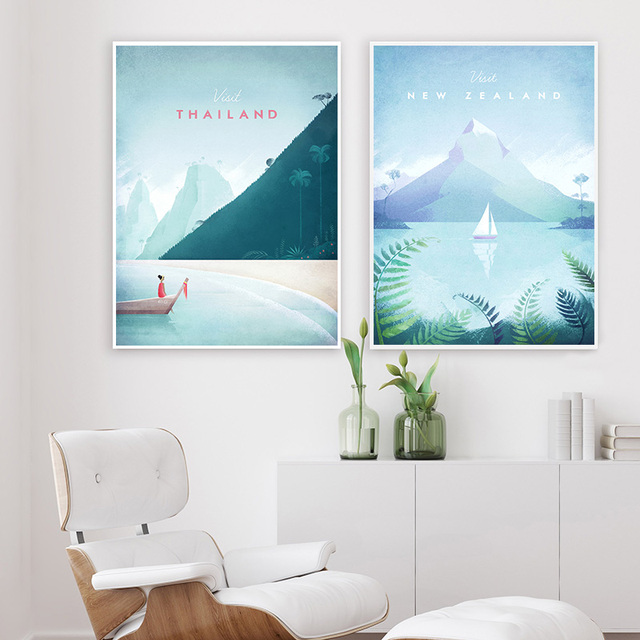 Travel Poster Illustration Nordic Print Vintage London City Landscape Canvas Art Painting Wall Picture Living Room Decoration