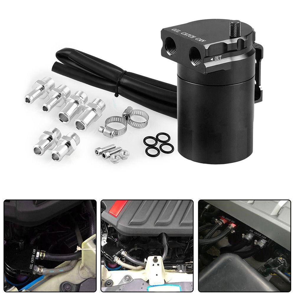 Hot New Oil Catch Can with Air Filter Breather Engine Air Oil Separator Tank Reservoir Tank Universal Car Oil Catch Can