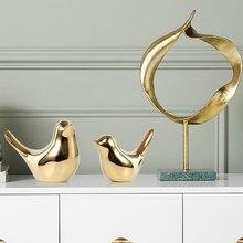 Ins nordic criativo decorações de ouro cerâmica estatuetas pássaro dourado abletop escritório casa acessórios decoração casamento ornamentos