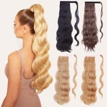 XINRAN Синтетические длинные голливудские волнистые накладные волосы для конского хвоста накладные волосы на клипсе для женщин черный светлы...