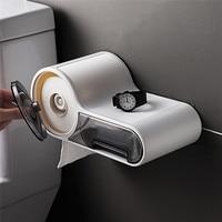 Multifunctional Free Punching Tissue Box Toilet Paper Holder Plastic Storage Box Toilet Waterproof Bathroom Shelves|Storage Shelves & Racks| |  -