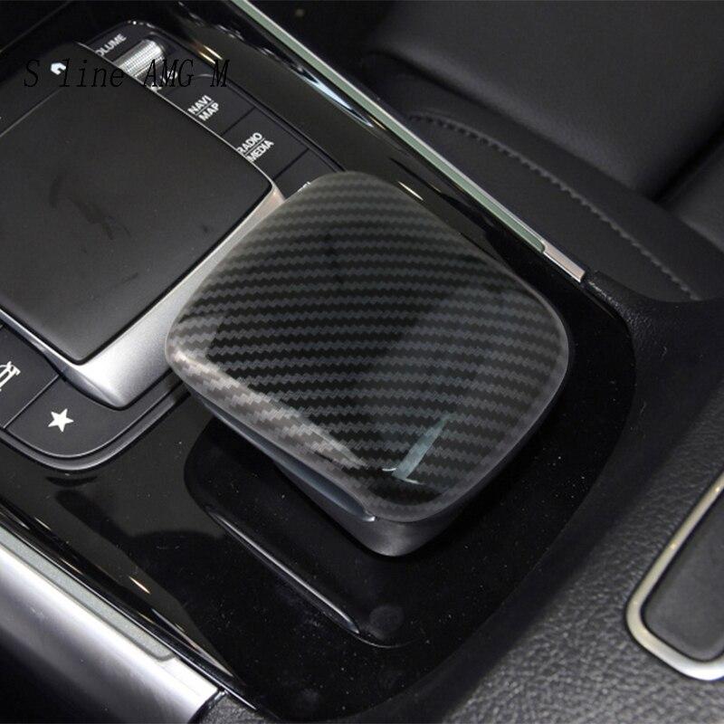 Panel de Cambio de marchas de fibra de carbono para Mercedes Benz Clase B GLB W247 X247, reposabrazos, botones de interruptor, cubiertas de pegatinas y calcomanías embellecedoras