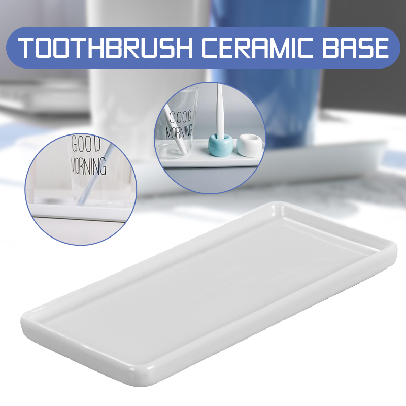 Creative Bathroom Toothbrush Ceramic Base White Porcelain Trays Rectangle Holder Stand Sanitary Storage Bathroom Accessories image