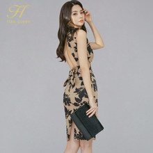 H Han Königin 2020 Sommer Bogen Backless Sexy Kleider Frauen Print Mantel Bleistift Kleid Mode Schlank Party Ärmelloses Bodycon Kleider(China)