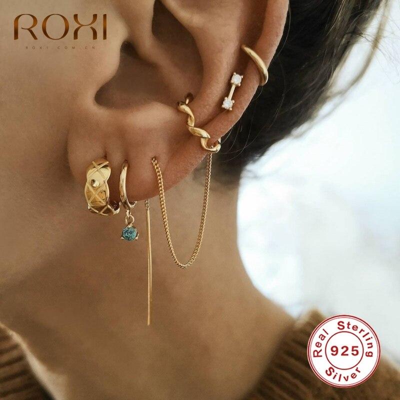 ROXI – boucles doreilles longues à maillons fins pour femmes et filles, Clip doreille torsadé, bijoux fins, Piercing, argent Sterling 925