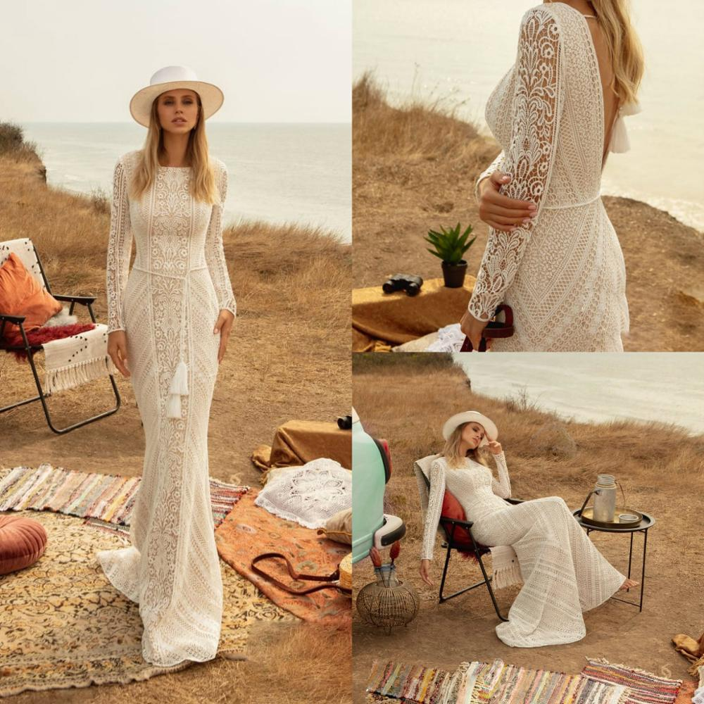 2020 Country Mermaid Wedding Dresses Lace Long Sleeves V Back Sweep Train Boho Bridal Gowns Custom Made Robe De Mairee