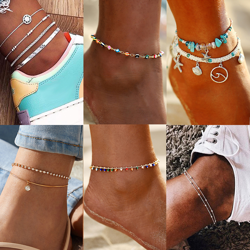 17KM Fashion Beads Shell Anklets for Women Multilayer Eye Star Stone Anklet Foot Bracelet Silver Color Beach Anklet Jewelry