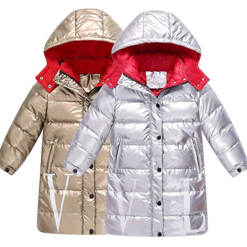 -30 degrés russie enfants imperméable à l'eau doudoune filles longue à capuche épaississement chaud vers le bas manteau enfants blanc canard vers le bas Outwear