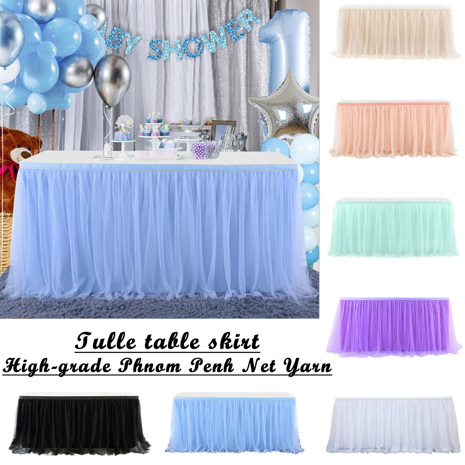2021 Wedding Party Tutu Tulle Table Skirt Cover Tableware Cloth Baby Shower Party Home Decoration Table Skirting Birthday Decor