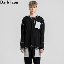 Dark Icon Padded Pocket Color Contrast High Street Mens Sweatshirt Simple Style Sweatshirts Streetwear Clothing