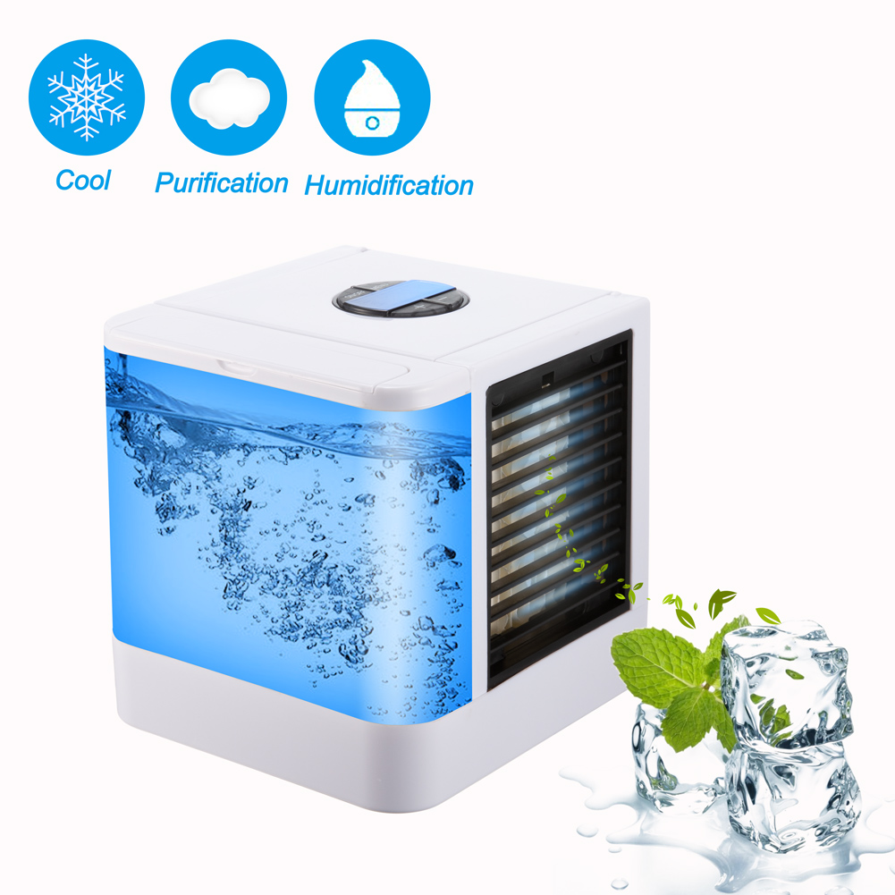 Mini Air Conditioner Humidifier Purifier USB Portable Air Cooler 7 Colors Light Desktop Air Cooling Cooler Fan For Home Office