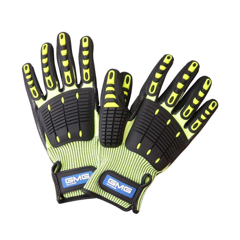 השפעה אנטי כפפות אנטי רטט שמן הוכחה GMG צהוב HPPE GMG TPR בטיחות עבודה כפפות לחתוך עמיד כפפות