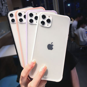 Shockproof Clear Phone Cases For iPhone 11 11Pro Max XR X XS Max 7 8 6 6S Plus Soft TPU Cute Candy Color Back Cover Gift(China)