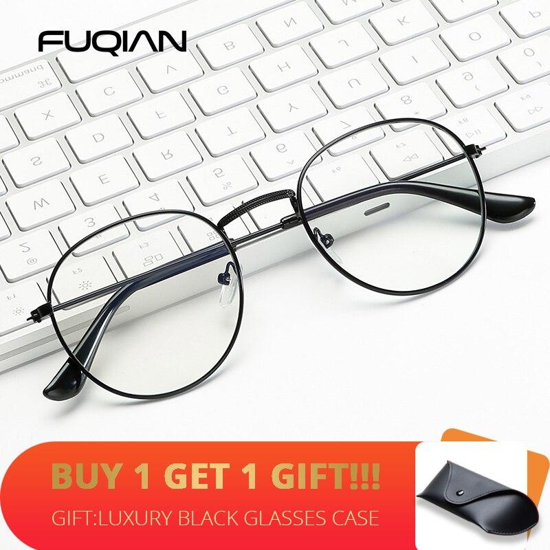 FUQIAN Classic Round Frame Glasses Women Men 2020 Fashion Optical Frames Clear Lens Reading Glass