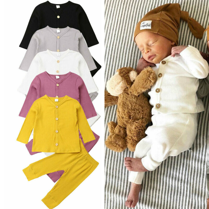 2019 Baby Spring Autumn Clothing Newborn Baby Girl Boy Knitted Long Sleeve Tops+Pants Leggings 2Pcs Outfits Solid Ribbed Clothes