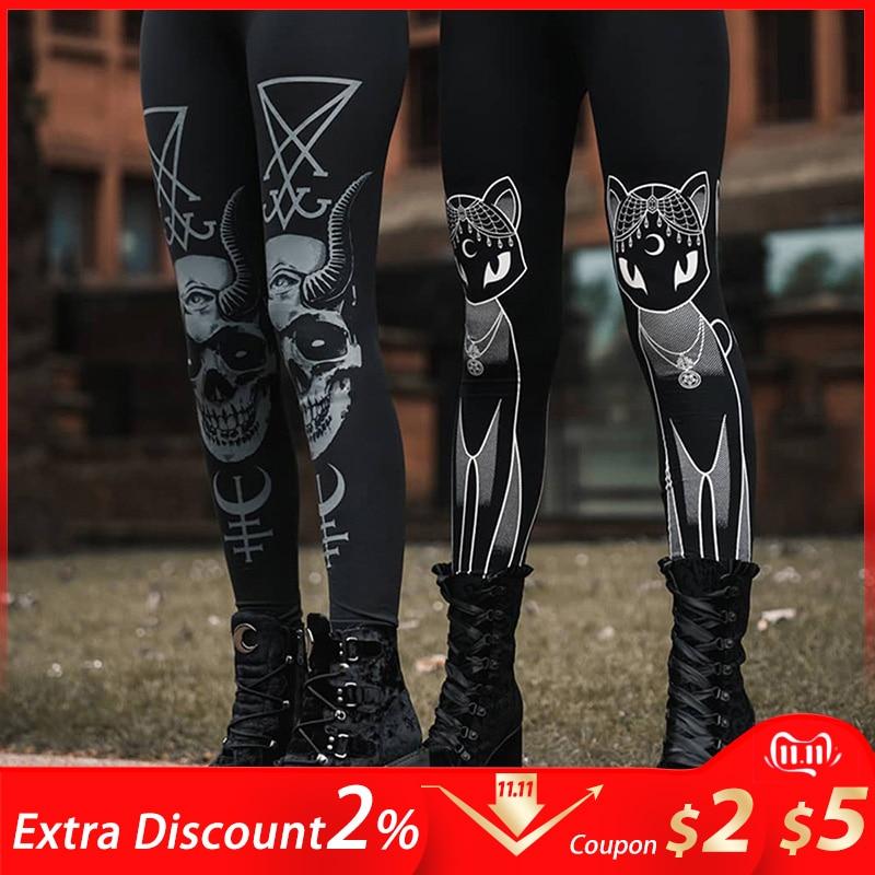 Gothic Style Women Leggings Sports Female Sweat Pants Dark Black Devil Skull Print Casual Trousers Punk Rock Street Wear Jogger
