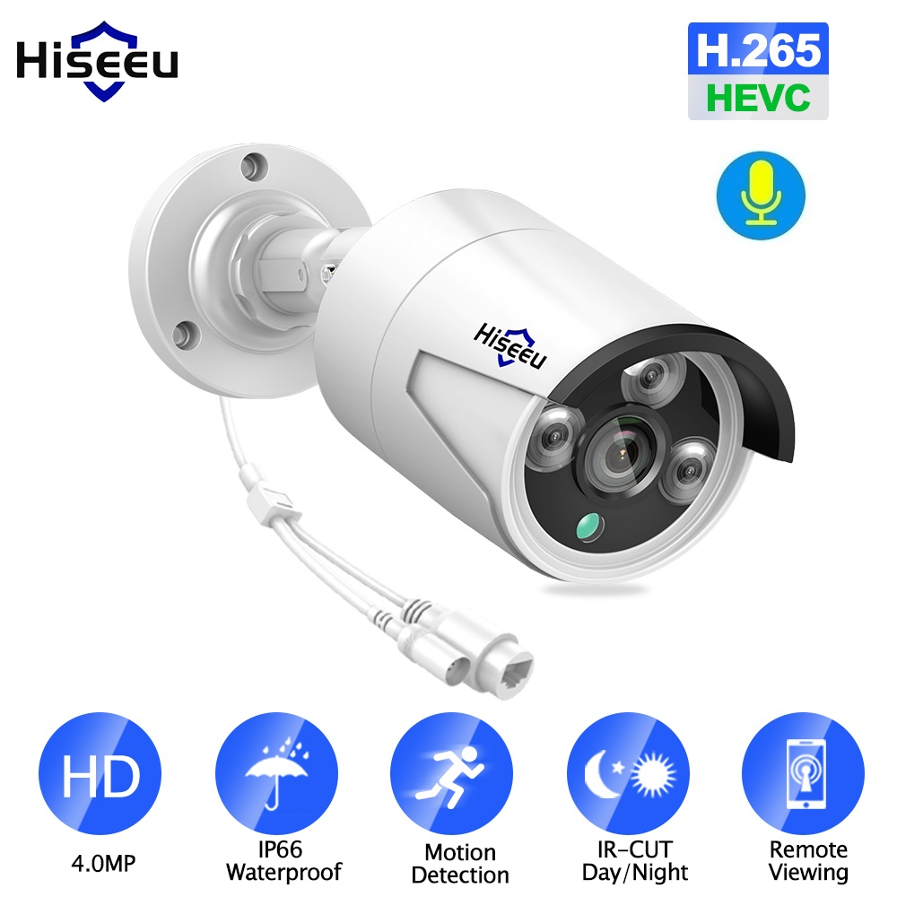 Hiseeu 4MP POE IP caméra extérieure étanche H.265 CCTV balle caméra Vision nocturne P2P détection de mouvement ONVIF pour PoE NVR 48V