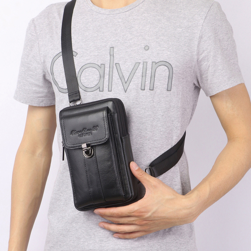 XiaoDuoLi Brand Genuine Leather Multi-funcation Cell Phone Pouch Case Men's Shoulder Messenger Bags Waist Fanny Chest Sling Pack
