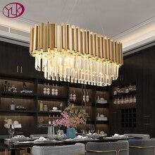 Youlaike jadalnia nowoczesna kryształowa żyrandol luksusowa owalna wisząca lampa oprawy jadalnia zawieszenie LED nabłyszczania De Cristal