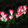 Уличный светодиодный светильник на солнечной батарее  4 головки  цветок лилии розы  лампа для двора  сада  дорожки  пейзаж  декоративная ламп...