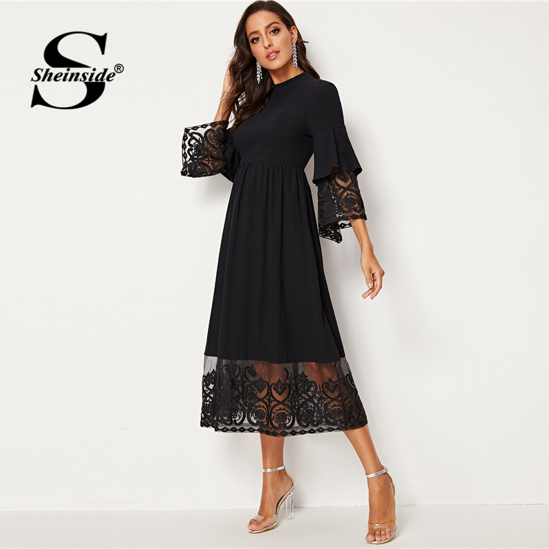 Image 3 - Sheinside Elegant Embroidered Mesh Pleated Dress Women 2019 Autumn 3/4 Sleeve Midi Dresses Ladies Layered Flounce Sleeve Dress-in Dresses from Women's Clothing