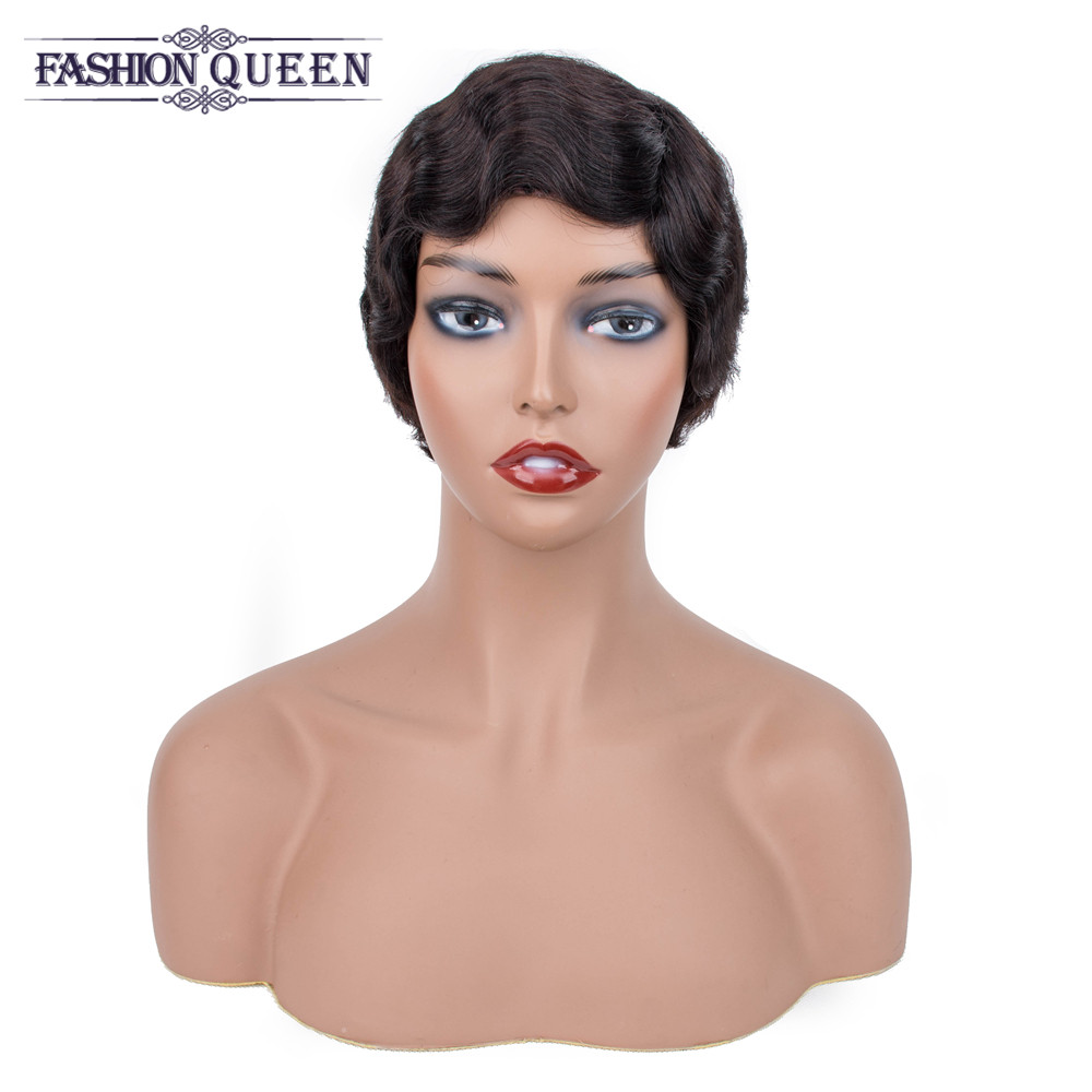 Brazilian Wigs For Black Women Machine Made Short Human Hair Wigs Loose Wave Nature Color Wig Fashion Queen