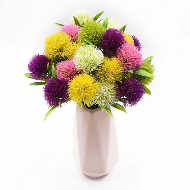 1 Bunch Artificial Plants Dandelion Bouquet Vases For Home Decor Wedding Decorative Fake Flowers Needlework Ornamental Flowerpot