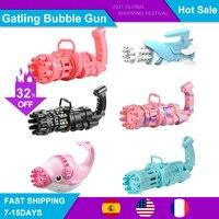 Pistola de burbujas automática para niños, juguete de agua y jabón de verano, máquina de burbujas eléctrica de plástico, juguetes de baño