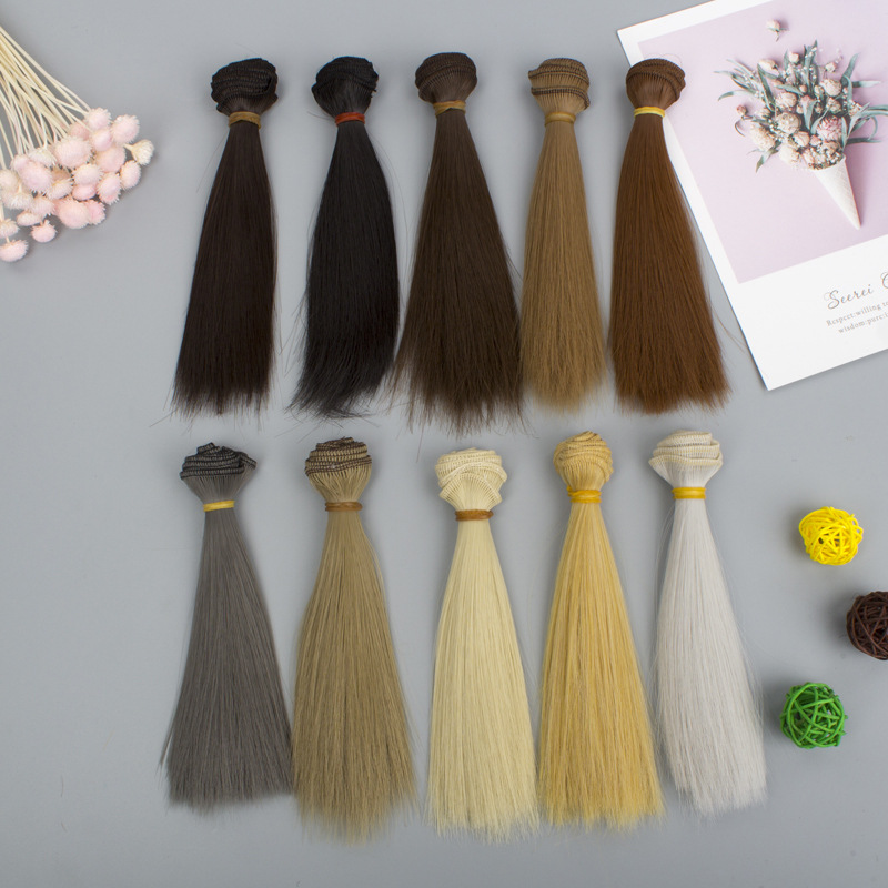 DIY Tresses Wig High-Temperature Gold White Brown Black Material Straight Hair Wigs <font><b>BJD</b></font> Doll <font><b>Accessories</b></font> Hair For Dolls 15*100cm image