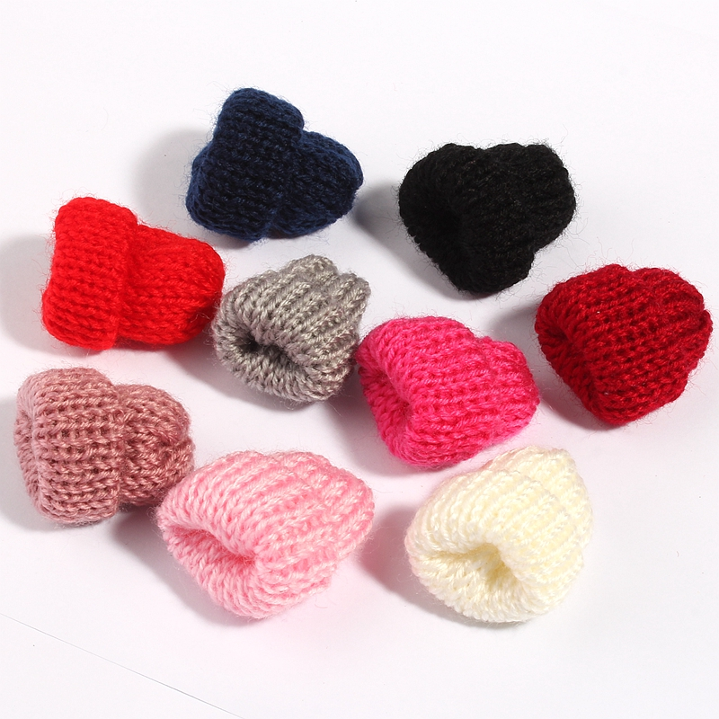 10PCS 4cm Fashion Handmade Woolen Yarn Hat For Women Clothing Mini Sweet Knitting Wool Flower Candy For Kids Hair Accessories