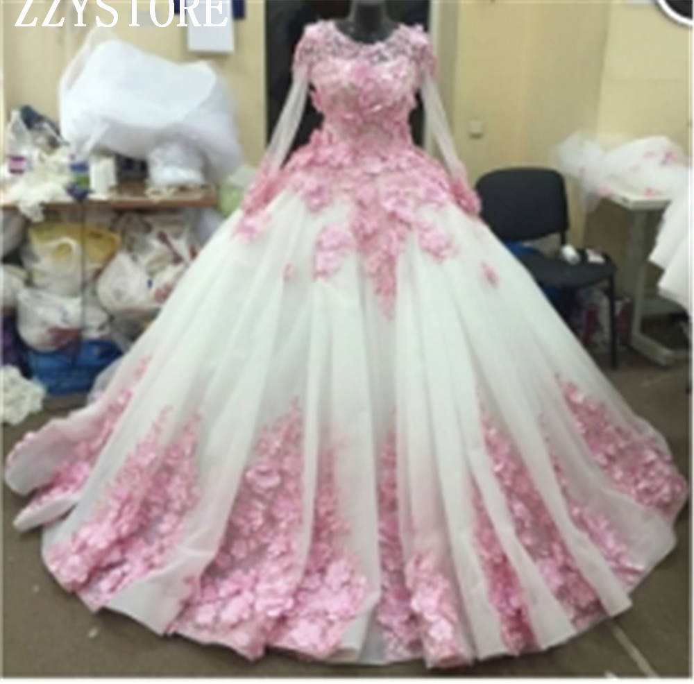2019 Fashion Illusion Beading Tulle Ball Gown Quinceanera Dresses Scoop Flowers Appliques Full Sleeves Formal Party Gowns