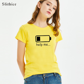 Slithice help me Fashion T-shirts for women Short sleeve Summer white black shirts battery Graphic Letter Print female tshirt