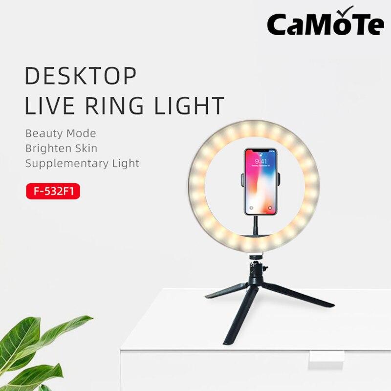 2 in 1 LED ring lamp Desktop10 inch 26cm live supplementary lamp selfie light beauty Youtube Video Holder USB Plug Tripod
