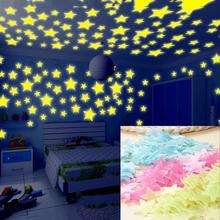 child s room wall stikers 100pcs 3d stars glow shine in the dark luminous wall glowing stickers for living room home decoration Child's Room Wall Stikers 100Pcs 3D Stars Glow Shine in The Dark Luminous Wall Glowing Stickers for Living Room Home Decoration
