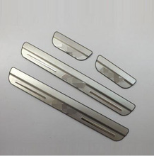 For Honda FIT 2008 2012 2014 Stainless Steel Door Sill Strip Scuff Plate pedal Side Trim Car styling stickers accessories 4pcs free shipping high quality stainless steel 4pcs side door bright trim protection sticker scuff trim for audi a6l 2012 2015
