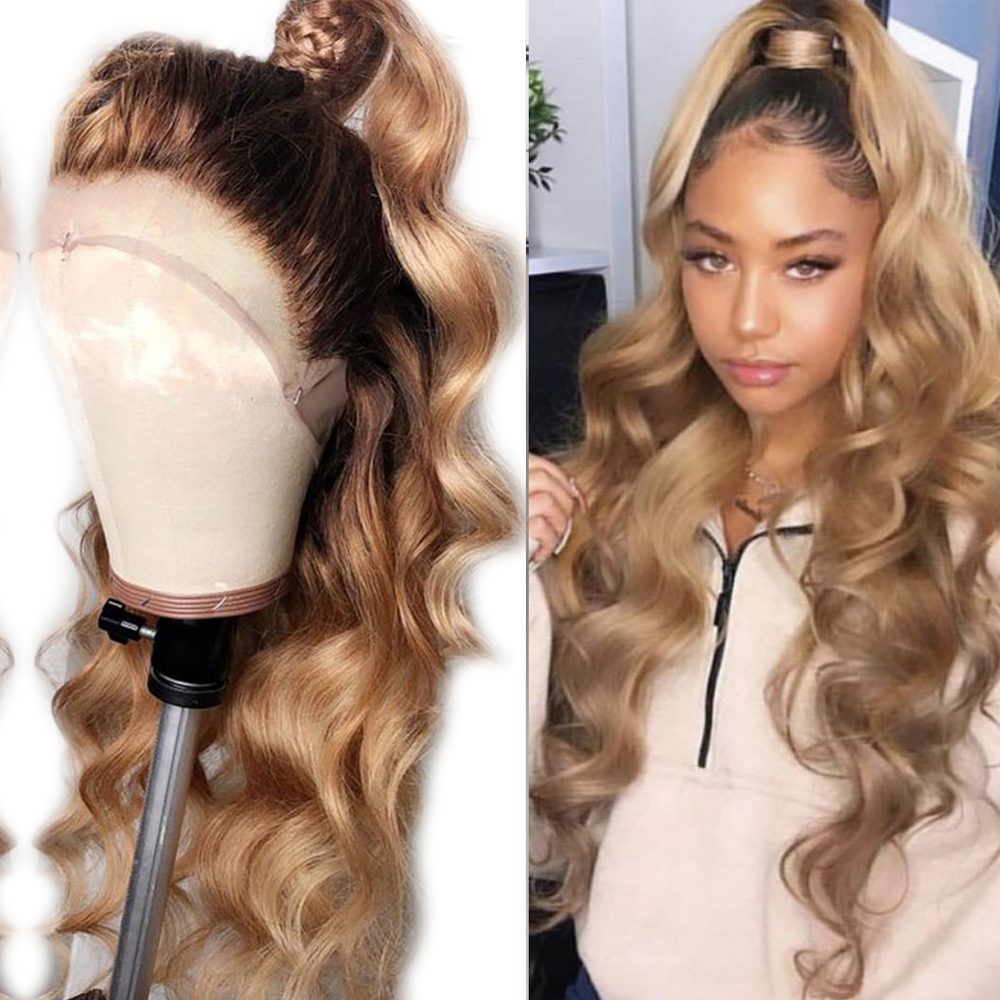 Eversilky 13x6 Lace Front Human Hair Wigs For Women Pre Plucked Ombre Brazilian Blonde Body Wave Remy Human Hair Wigs Baby Hair