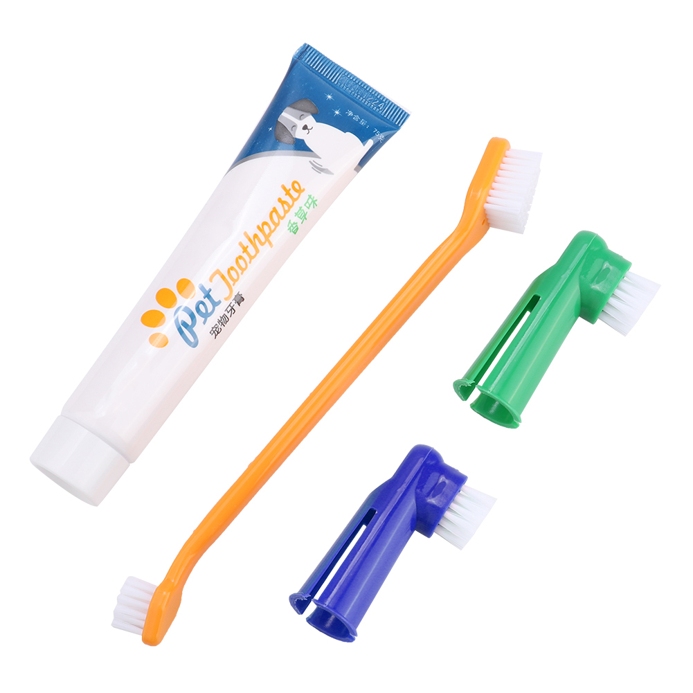 4pcs/Set Pet Dog Cats Dental Calculus Halitosis Removal Toothpaste Toothbrush Pet Oral Care Teeth Cleaning Products