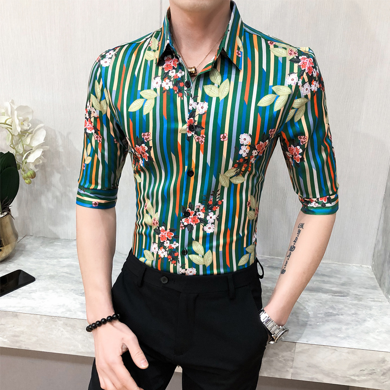 Night Club Tuxedo Stripe Shirt Social Plus Size 3XL-M 2020 Summer Men Striped Shirt Half Sleeve Slim Fit Hairstylist Shirts Men