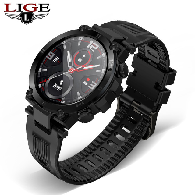LIGE New Men Full Touch Screen Smart Watch IP68 Waterproof support HR/BP Fitness Tracker Sports smart watch Men for IOS Android