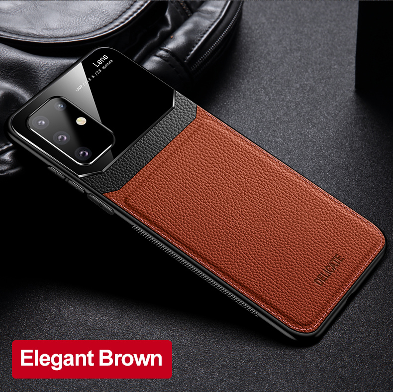 PC Grained Leather Skin-pattern Retro Bumper Back Phone Case for Samsung S20 Plus 11