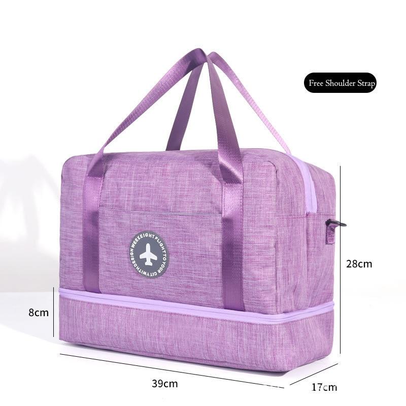 Hylhexyr водонепроницаемая обувь сумки большой емкости Оксфорд молния путешествия вещевой мешок одежды с разделителем для сухого и влажного сумки пакет для пляжа - Цвет: Фиолетовый