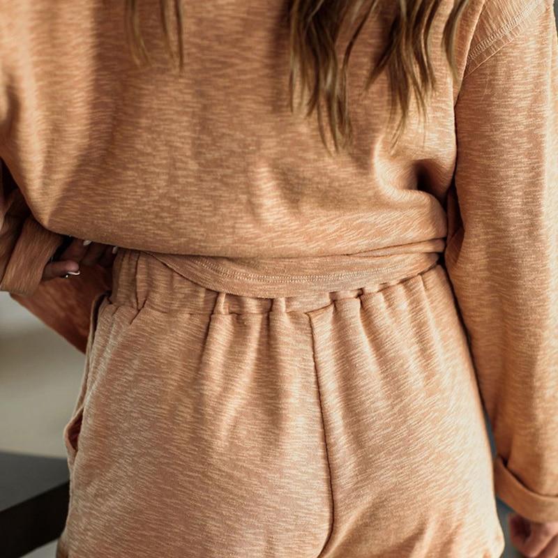 2020 New loungewear women pajama set summer breathable nightgown sleepwear indoor long sleeve sleep tops two pieces pijama mujer (3)