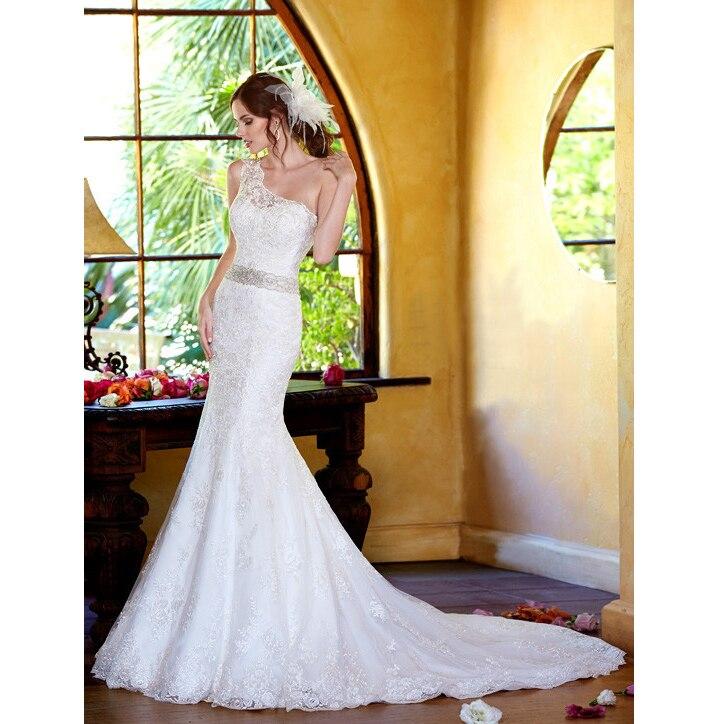 Custom Made Vestido De Novia Ivory/White Satin Beading Crystal One Shoulder Lace Mermaid Bridal Gown Mother Of The Bride Dresses