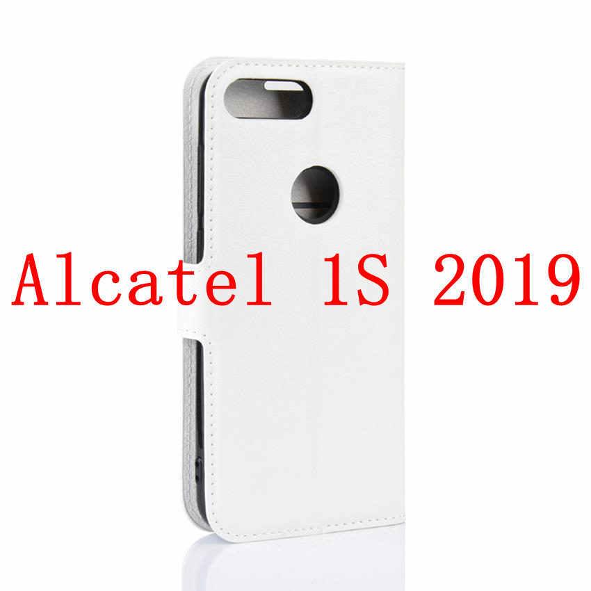 Kılıf Alcatel 1X 1C 1S 2019 kapakları Flip cüzdan kart tutucu kapak cam ekran koruyucu Alcatel 3 3C 3V 3L koruyucu Film