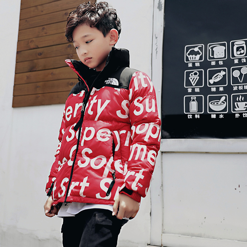 Cotton-padded Fashion Boys Jackets Big Children's Winter Spring Warm Coat Leopard Print Cool Teenage Boys Outerwear 8 10 12 Year