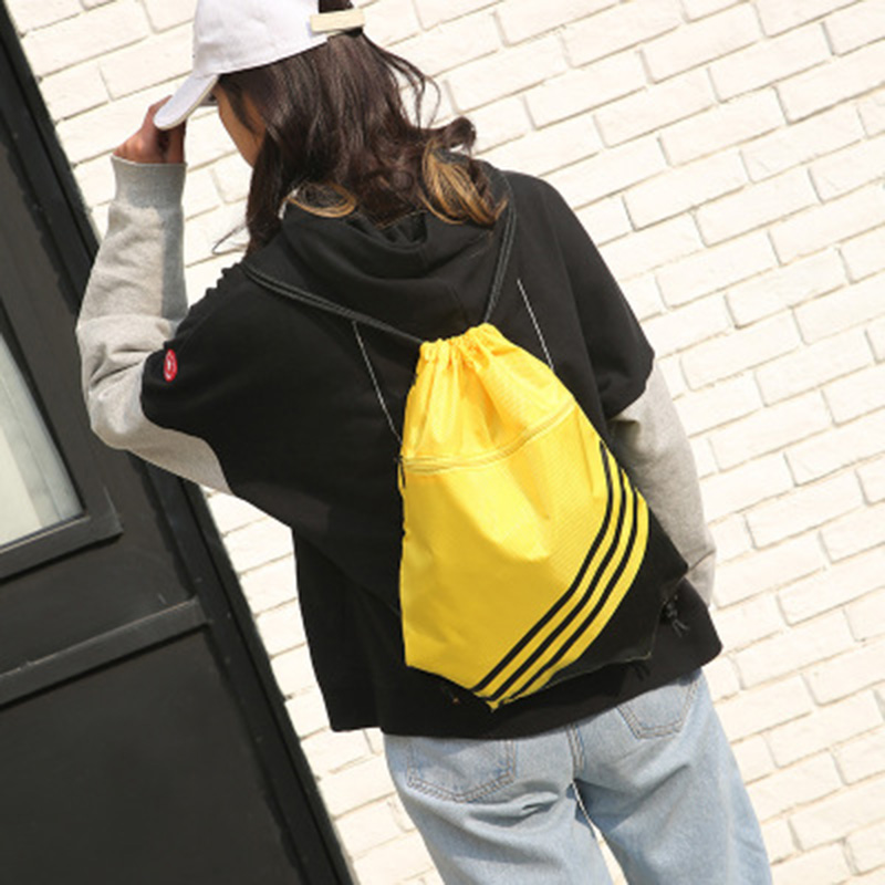 Double Color Stitching Stripe Drawstring Bag Travel Backpack Sports Backpack Men Women Waterproof Nylon Storage Bag C55