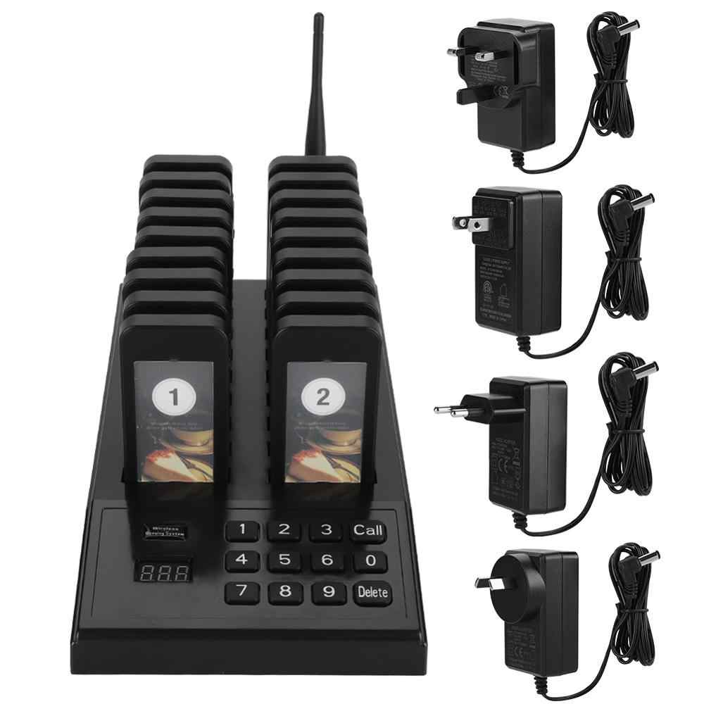 SU-666 999 Channel Wireless Paging Queuing System Restaurant Pager Guest Paging System with 1 Transmitter + 18 Coaster Pagers