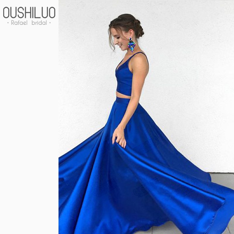 Simple Two Piece Royal Blue Satin Puffy A Line   Prom     Dresses   Sapghetti Strap V Neck Floor Lenth Sleeveless Wedding Party   Dress